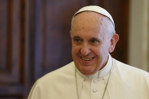Pope Francis pictured during private audience with Austrian President Fischer at Vatican